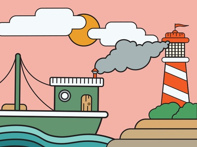 Boat and Lighthouse branding illustration icon graphic design graphic design