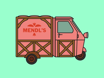 Mendl's truck wes anderson color vector icon illustration graphic design typography graphic design