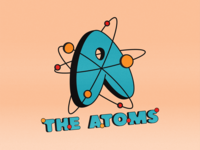 The Atoms branding badge icon illustration type logo typography graphic design graphic design