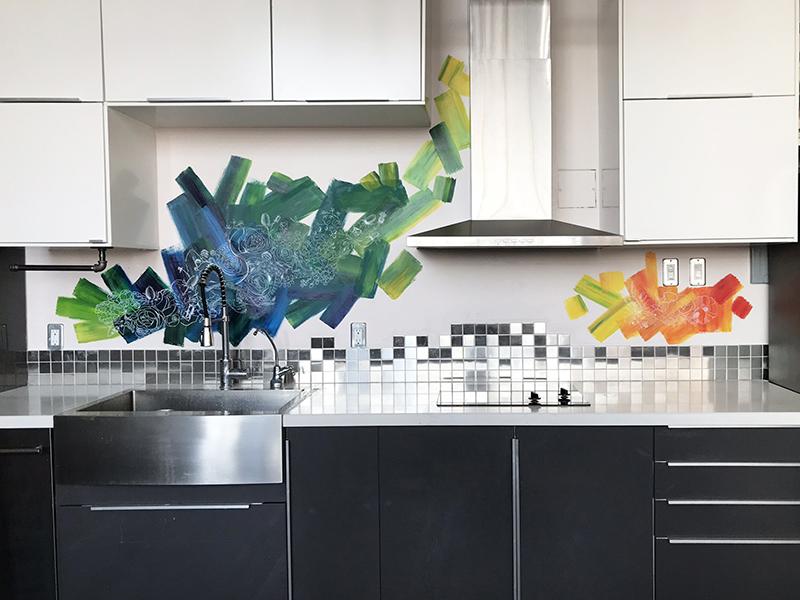 Floral Splash Mural Backsplash Kitchen By Iliana Sergeev On Dribbble
