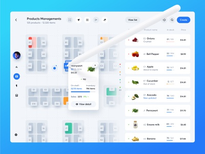 Food Inventory Management App product management list management dashboard food list floor plan map inventory food web design product design