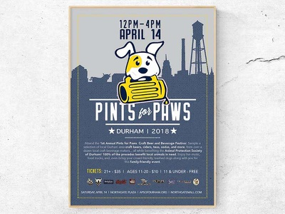 Pints for Paws Durham - Event Poster craft beer beer north carolina graphic design pets dogs puppies event poster