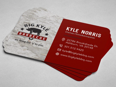 Big Kyle BBQ Business Card Design catering barbecue local business print design graphic design business cards food bbq business card