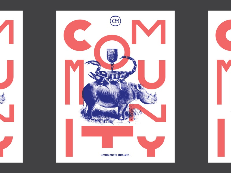 Community Poster poster branding lettering illustration pattern collage layout