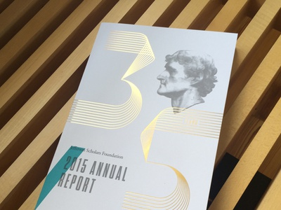 Jefferson Scholars Annual Report gold foil annual report geometric layout print