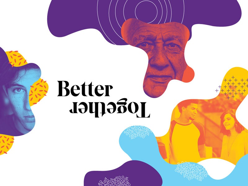 Better Together annual report blobs color pattern branding