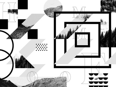 Home environmental graphics typography geometry layout collage