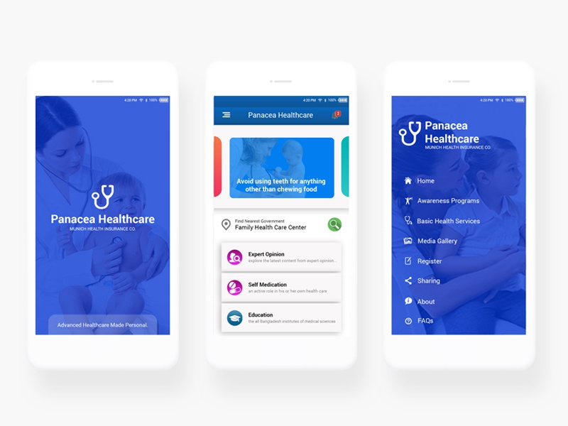 Health Card App Mockup ux ui typography mobile healt graphic doctor design creativity colors care app