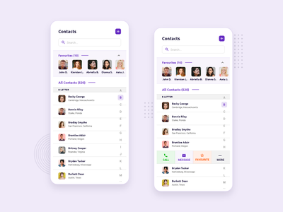 Contacts Mobile App contact options typography concept ui ux ios android clean trending minimal beautiful ui design mobile app design mobile app phone diary contacts