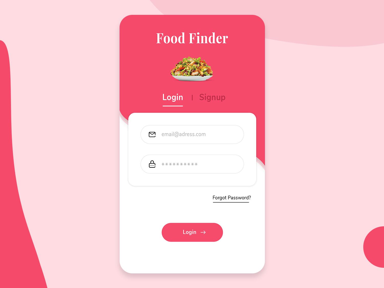 Food Finder Mobile App Design idea branding ui ux user food app ui creative inspiration trending finder food login screen mobile app design mobile app