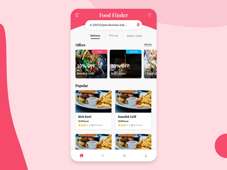 Restaurant: Landing page design app idea design mobile app design creative restaurant branding location search popular offer landing page design restaurant food ux ui trending ui