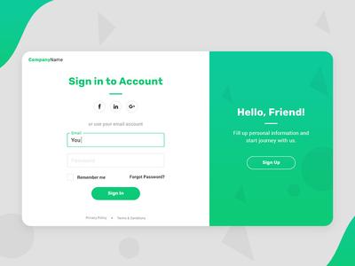 Authentication page design