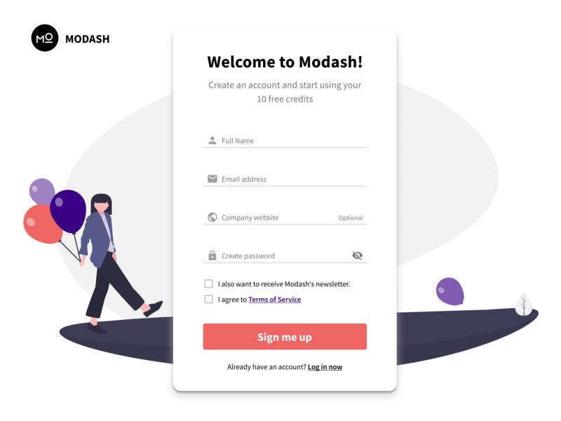 Modash: Signup ux vector illustration startup signupform signup register ui app account