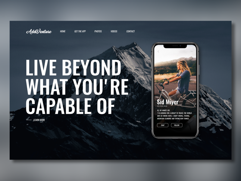 AddVenture adventure dailyui app design ux ui website