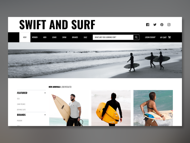 Swift And Surf shop surf design store webdesign web ux ui