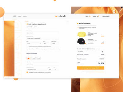 Checkout Page Daily Ui 002 Zalando Checkout Redesign By Julien Fovelle On Dribbble