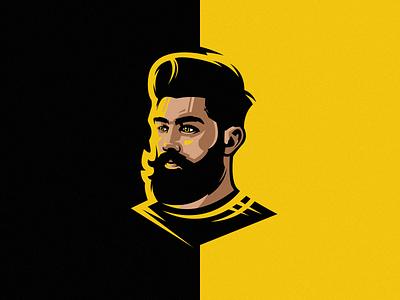 Face Man Logo beard logos man logo face logo vector illustration branding tshirt art mark identity design logo