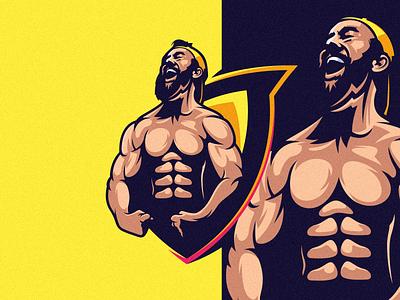 Beard Muscle Logo vector branding illustration tshirt art mark identity design logo beard muscle logo
