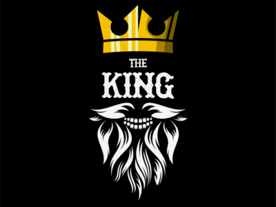 awesome beard king illustration vector logo