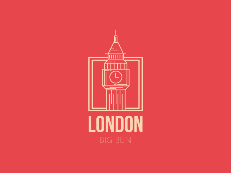 Dream Hometown, London firstshot graphicdesign design flat coloful dribble 2d art vector bigben london sticker 2d illustrator city illustration city