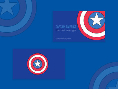 Design a Business Card for a Superhero, Captain America graphicdesign flat coloful illustration dribble illustraion weekly challenge captain marvel captain weekly