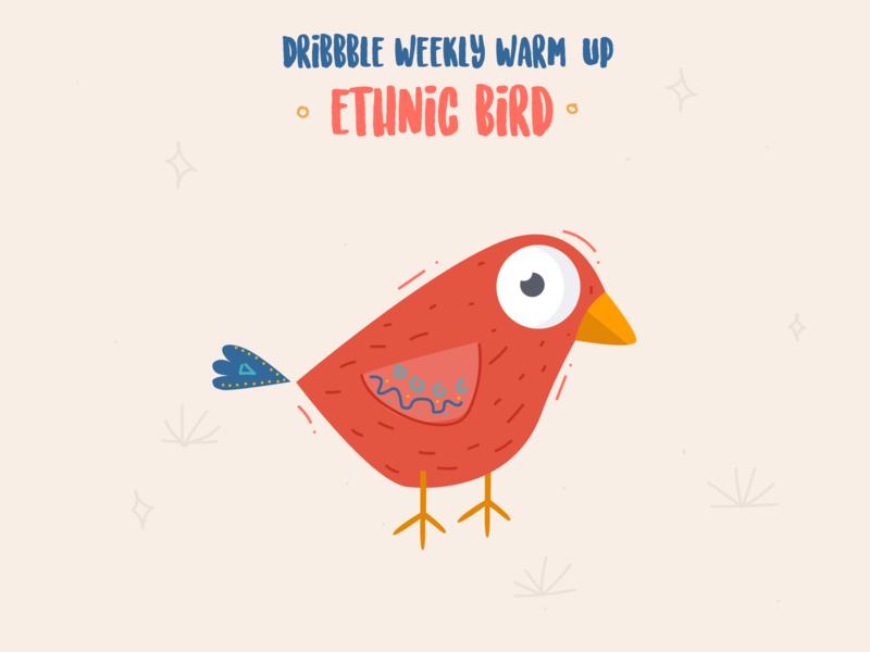 Weekly Warm-Up - Ethnic Bird animal birds design vector dribble coloful color flat weekly warm-up illustration illustrator bird
