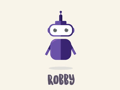 Robot Character, Robby firstshot branding typography dribble flat coloful design roboto warmup character robot