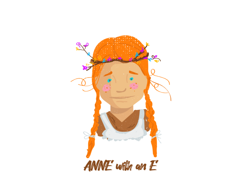Anne with an E firstshot typography vector animation dribble flat coloful illustrator artit series character illustration netflixseries annewithane