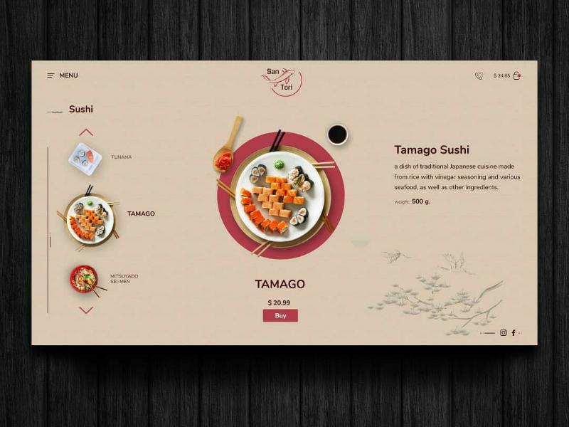 Japan food website concept