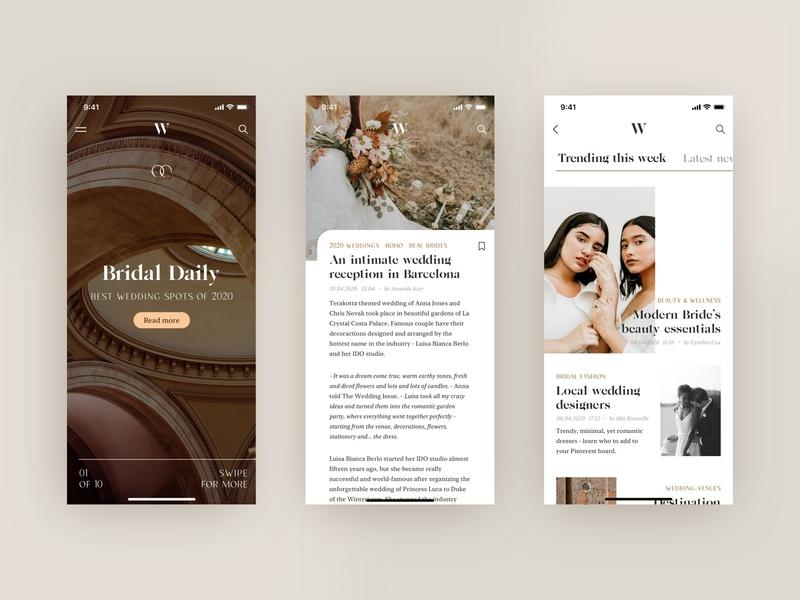 Wedding Issue #1 ux ui wedding feminine typography article newspaper online magazine editorial design editorial editorial app product design mobile application product app