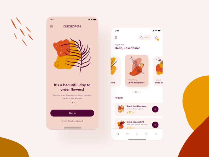 Dried Flowers E-commerce flowers shop clean mobile app illustration cute ecommerce minimal feminine ux ui