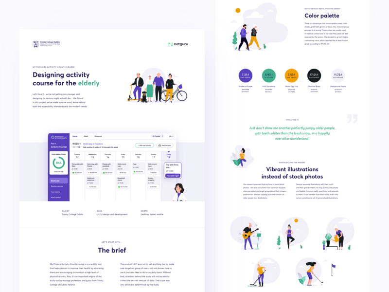 Online Activity Course - Design for Seniors minimal netguru wcag branding seniors app web design dashboard tracker illustration ux ui accessible accessibility case study