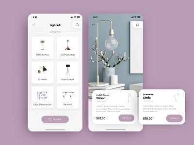 LightAR - luxury lighting e-commerce app with AR app concept app minimal luxury brand ecommerce shop augmentedreality ios shop furniture store ar augmented reality ecommerce app lamps ecommerce ux ui
