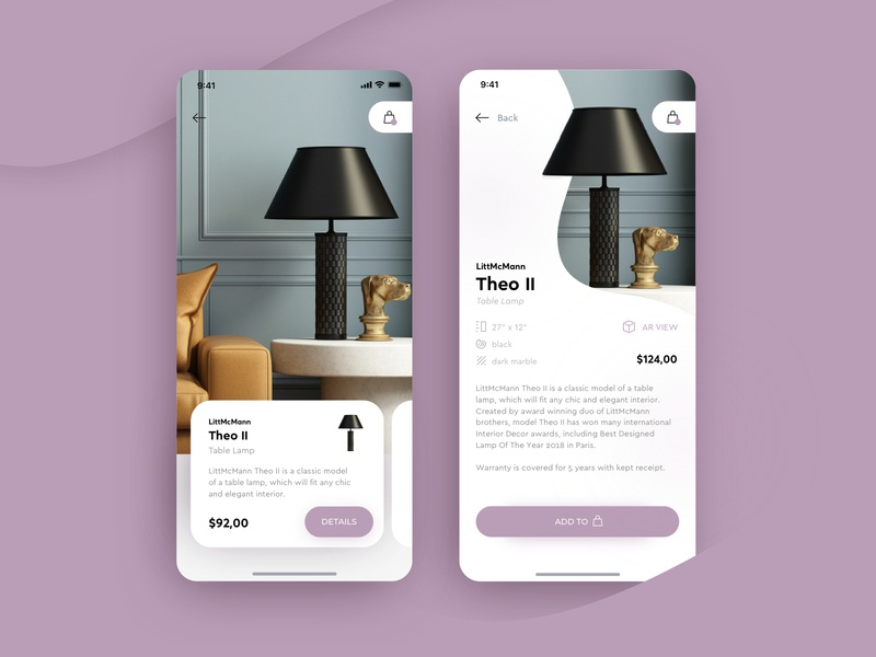 LightAR - luxury lighting e-commerce app with AR modern augmented reality augmentedreality ar ecommerce shop luxury brand minimal lamp furniture store cart shop app shop ecommerce elegant ux app ui
