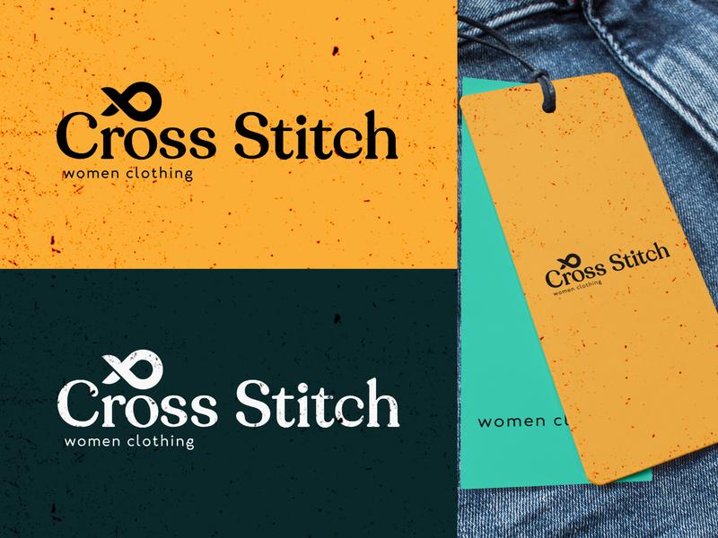 Cross Stitch Logo Freelance Client minimal character flat icon logo web vector app illustration animation ui photoshop website typography identity design branding ux