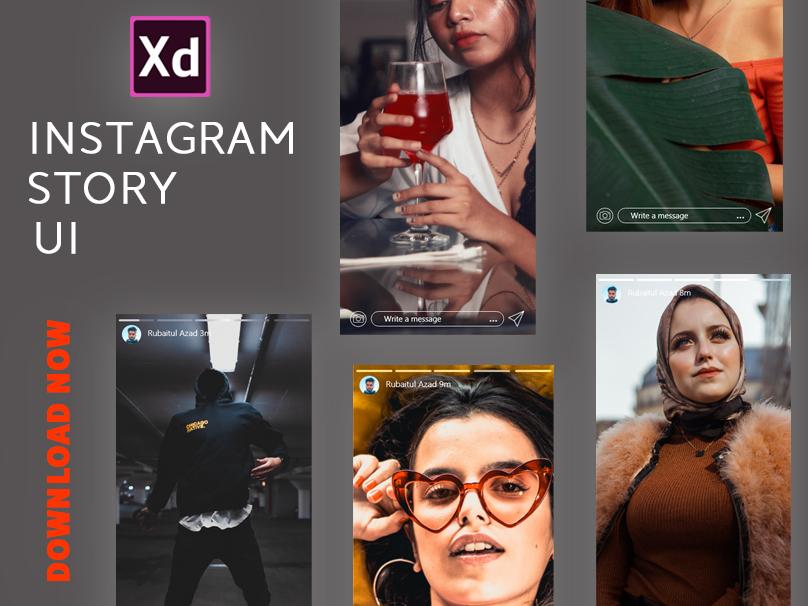 Instagram Story UI - 5 Screens designer vector illustration character web identity animation illustrator app website typography dribbble adobexd instagram photoshop branding ui ux design