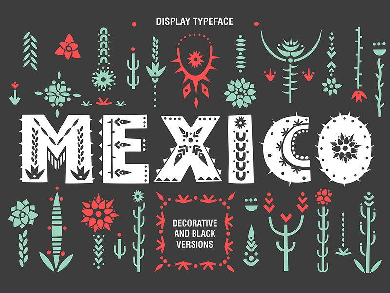Mexico Display Font Pattern Tribal Ilration Succulent Ethnic Hand Drawn Decorative Lettering Alphabet Typography