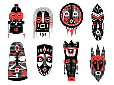 Masks&Amulets tribal design poster pattern vector hand-drawn illustration folk ethnic pagan africa mask