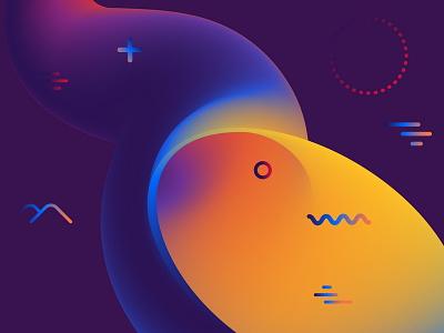 Fluids digital geometric background abstract ultraviolet cosmic vector gradient fluid