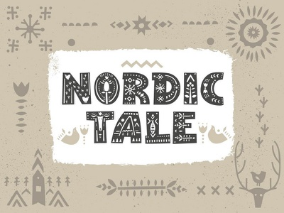 Nordic Tale Font hand-drawn adobe illustrator fontself ornament pattern hygge letter nordic decorative cutout display scandinavian lettering typography alphabet font graphic creativemarket ethnic illustration