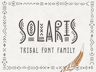 Solaris - Tribal Font Family logo fontself letter tribal decorative art lettering folk typography design alphabet font creativemarket graphic pattern ethnic hand-drawn vector illustration
