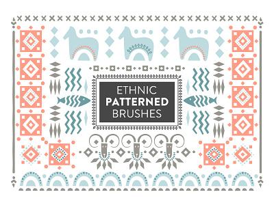 Ethnic patterned brushes sample ornament patterned brush free freebie decorative art adobe illustrator scandinavian folk design creativemarket graphic pattern ethnic hand-drawn vector illustration