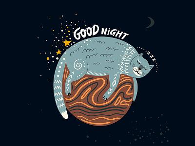 Good Night lettering art childish adobe illustrator folk design creativemarket graphic pattern hand-drawn ethnic vector illustration