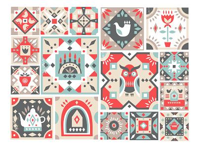 Folk Tile Graphic Collection nordic freebie free scandinavian decorative art adobe illustrator folk design creativemarket graphic pattern ethnic hand-drawn vector illustration