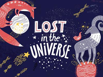 Lost In The Universe ornament lettering scandinavian art adobe illustrator folk design creativemarket graphic pattern ethnic hand-drawn vector illustration