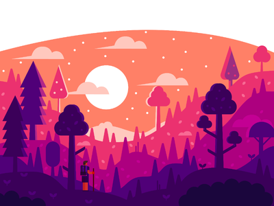 Midnight Traveler vector forest trees warm traveler landscape nature