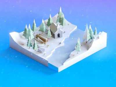 Tiny winter low poly winter snow web ui texture motion minimal clean blue art isometry illustration design render gif cinema 4d animation c4d 3d