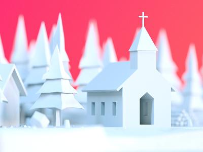 Tiny church design illustration cinema 4d render c4d 3d