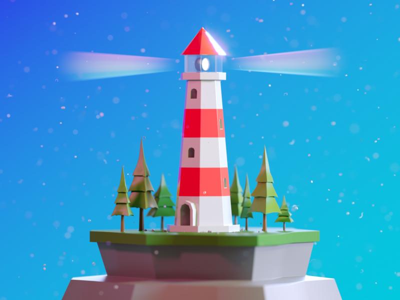 Tiny lighthouse blue low poly lighthouse design illustration cinema 4d render c4d 3d