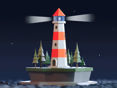 Tiny lighthouse lighthouse loop looped illustration design gif cinema 4d render animation c4d 3d
